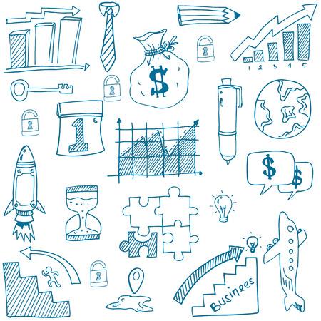 Doodle van symbool zakelijke hand tekenen vector illustratie