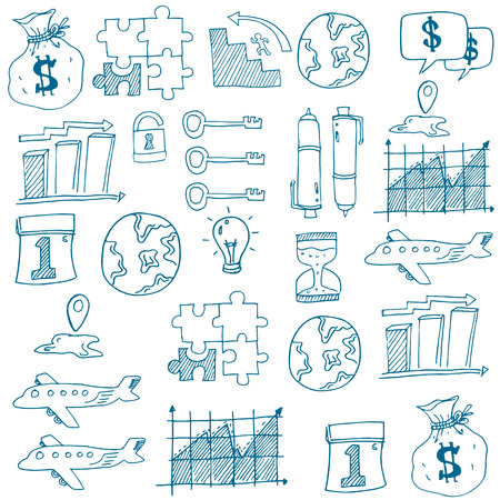 Doodle of business set on white backgrounds vector art Stock Illustratie