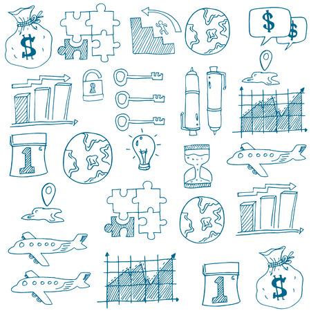 Doodle bedrijfszetels op een witte achtergrond vector kunst Stockfoto - 61331251