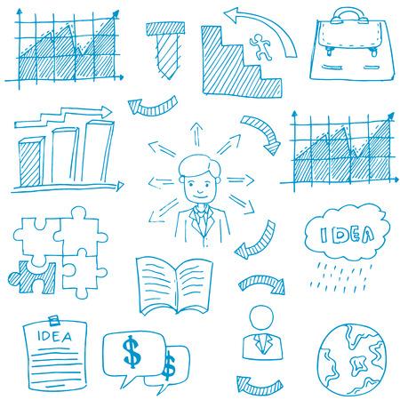 Doodle of business thema stock vector kunst illustratie Stockfoto - 61331252
