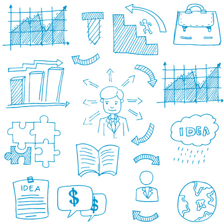 Doodle of business theme stock vector art illustration Иллюстрация
