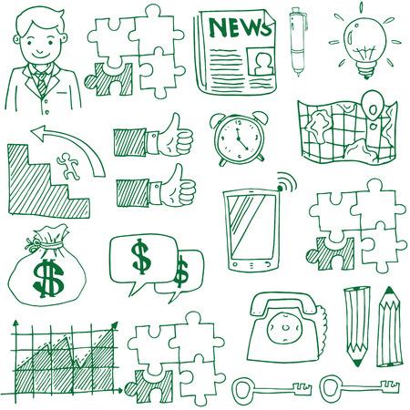 Doodle van het bedrijfsleven stock hand tekenen vector illustratie