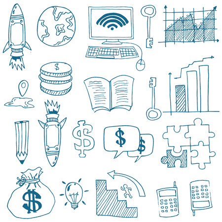 Doodle of business image stock collection