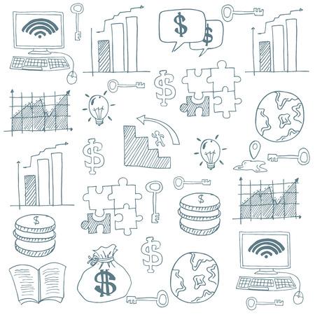 Doodle van platte zakelijke imago vector kunst illustratie Stock Illustratie