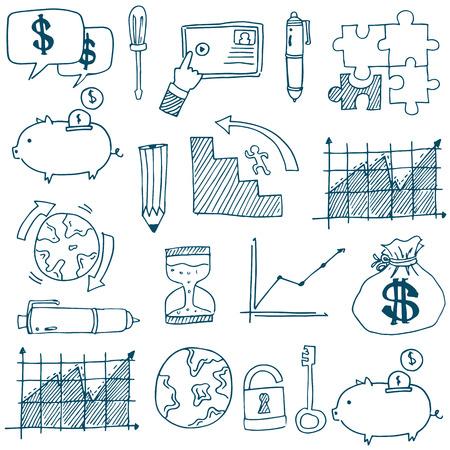Doodle van grafische bedrijfszetels vector kunst illustratie