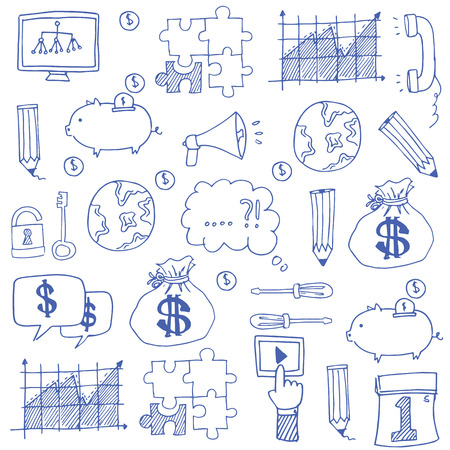 Doodle of business set stock collection vector art
