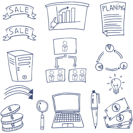 Doodle of element business set Stock Illustratie