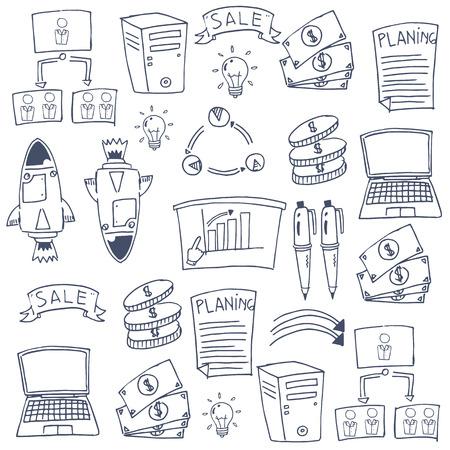 Doodle van zakelijke imago hand tekenen Stock Illustratie
