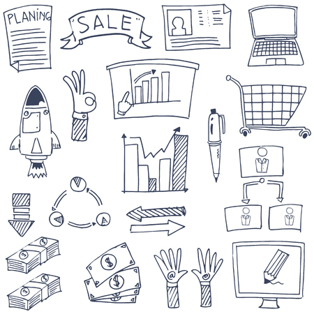 vector illustration of business doodles