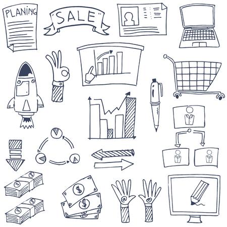 Vector illustratie van de zakelijke doodles Stockfoto - 61331587