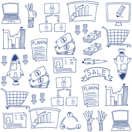 Business  doodles for stock collection Stock Illustratie