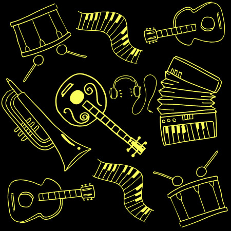 Doodle of music set image hand draw
