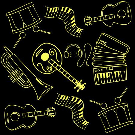 Doodle van de muziek set afbeelding hand tekenen Stockfoto - 61331613