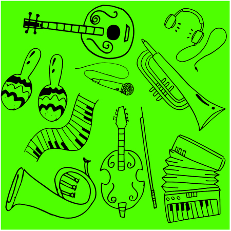 Music object in doodle vector art illustration