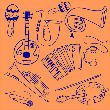 Doodle of music stock collection vector