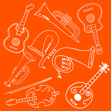 On orange backgrounds music set doodles Stock Illustratie