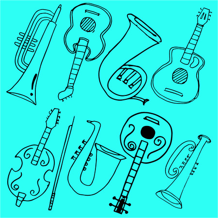 Tool music in doodles vector art Stock Illustratie