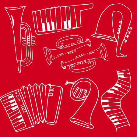 Doodle of music set on red backgrounds hand draw