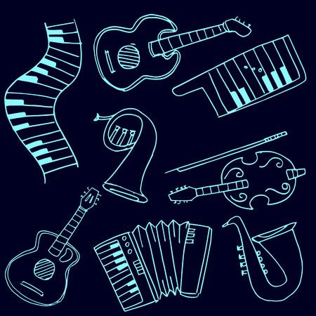 Stock collectie muziek set doodles