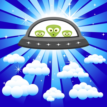 Aliens in a Spaceship Flying in the sky Vector