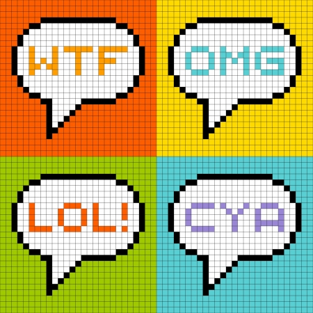 lol: 8-bit pixel representation of common 3-letter acronyms in speech bubbles
