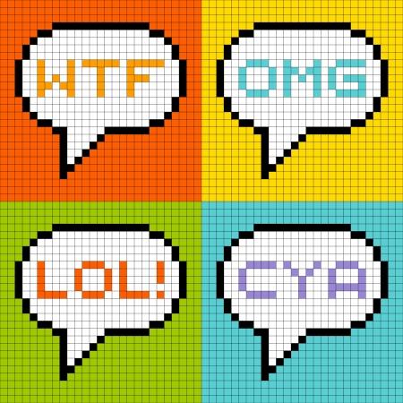 8bit: Rappresentazione di pixel a 8 bit di comuni acronimi 3 lettere in bolle di discorso Vettoriali