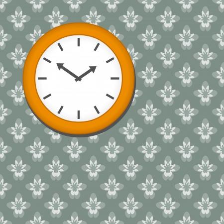 wallpapper: Orologio su sfondo floreale senza soluzione di continuit� wallpapper
