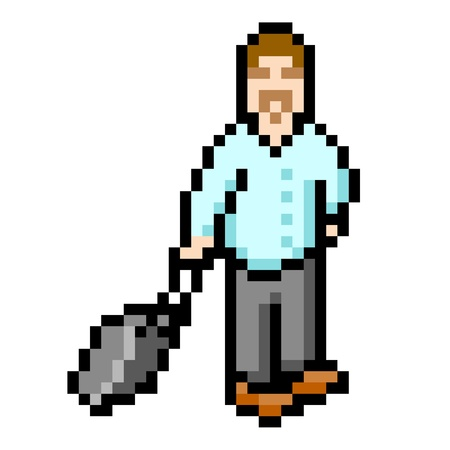 pixelart: 8-bit pixel-art representation of a smart businessman dragging a suitcase