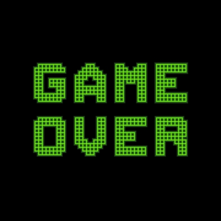 Game over message on a green grid digital display