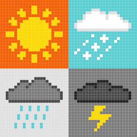 8bit: 8-bit pixel-art tempo simboli del sole, pioggia, neve, tuoni