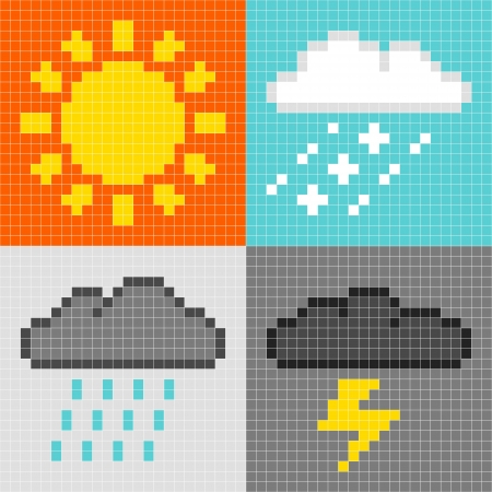 8-bit pixel-art weather symbols  sun, rain, snow, thunder