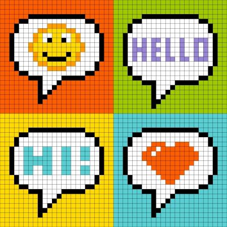 8bit: 8-bit di pixel in linea messaggistica bolle smiley, ciao, ciao, amore-cuore