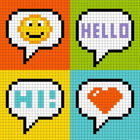 pixels: 8-bit pixel online messaging bubbles  smiley, hello, hi, love-heart