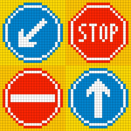 8 bit: 8-bit road traffic signs  keep left, stop, no entry, straight ahead Illustration