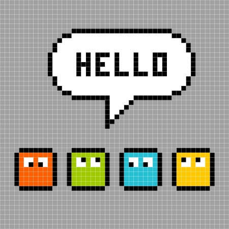 pixelart: 8-bit pixel characters say hello against a grey grid background Illustration