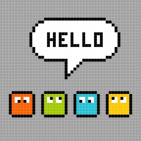 8bit: Caratteri di pixel a 8 bit dire ciao contro una griglia di sfondo grigio Vettoriali
