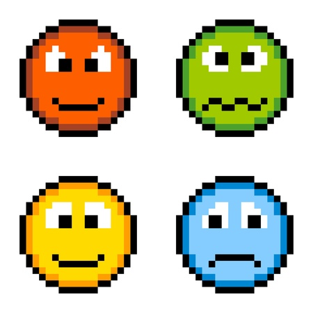 sad face: 8-bit pixel emotion icons  angry, sick, happy, sad Illustration