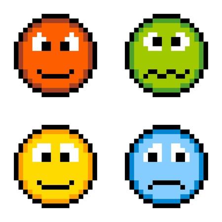 cara triste: Pixel iconos de la emoci�n de 8 bits enojado, enfermo, feliz, triste