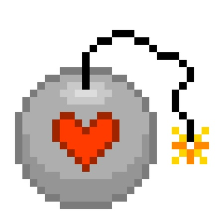 love explode: 8-bit pixel love bomb ready to explode