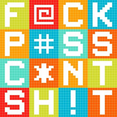 cursing: 8-bit pixel 4-letter swear words iin pixel blocks