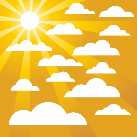 Clouds on a golden yellow sky Illustration