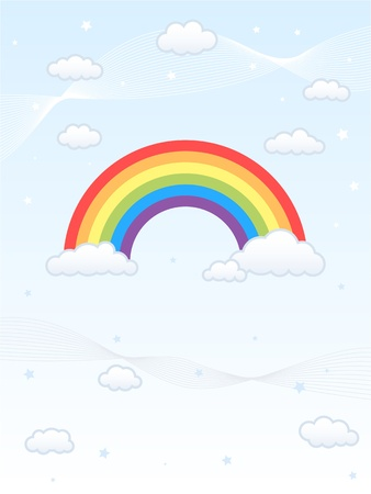 Colorful rainbow against a light blue sky, surrounded by fluffy clouds. Created in Adobe Illustrator with assets separated on separate layers
