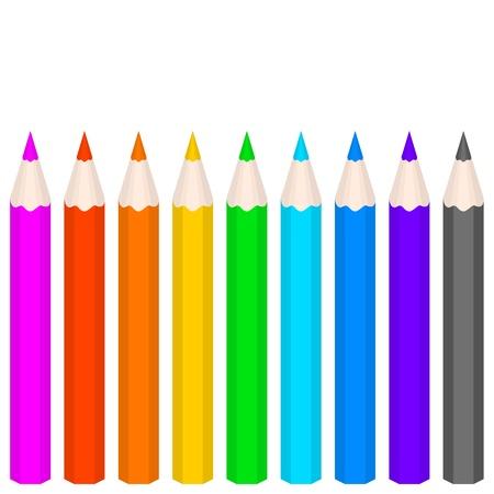 Rainbow coloured vector pencils Illustration