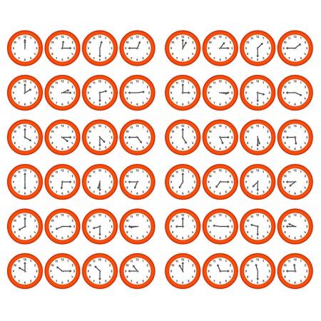 매 15 분을 보여주는 벡터 빨간색 숫자 시계 일러스트