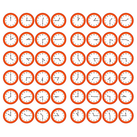 five to twelve: Vector red numerical clocks showing every 15 minutes Illustration