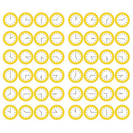 매 15 분을 보여주는 벡터 노란색 일반 시계