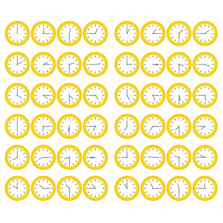 five o'clock: Vector yellow plain clocks showing every 15 minutes