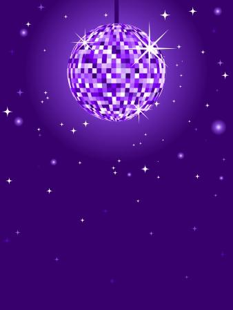 Glittery paarse discobal tegen een paarse achtergrond met sterren
