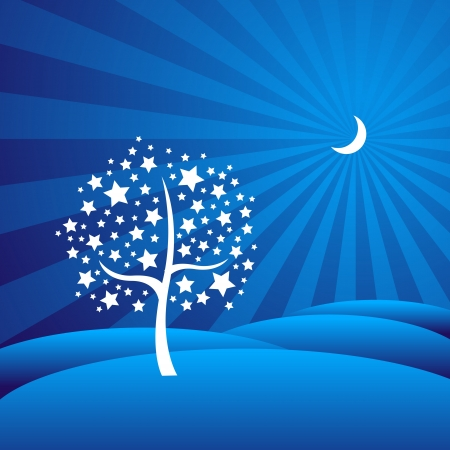 Christmas tree made up of stars agains a blue backdrop Illustration