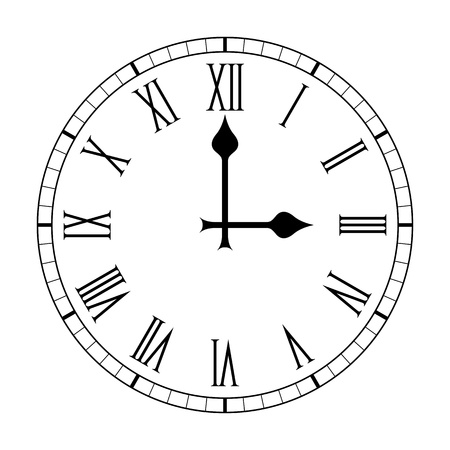 Plain Roman Numeral Clock Face Vector